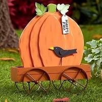Rustic Wagon Cart Pumpkin Shaped Decoration Happy Fall Thanksgiving Home Decor