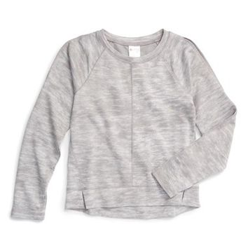 Zella Girl 'Cool Down' Heathered Sweatshirt (Little Girls & Big Girls) | Nordstrom