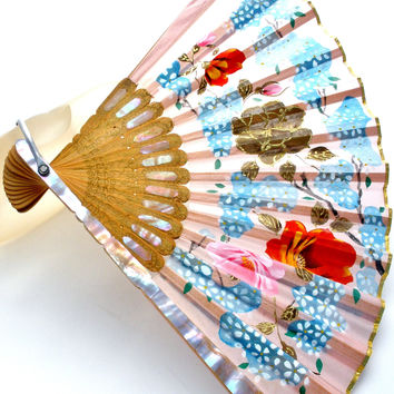 Vintage Hand Painted Silk Fan Mother of Pearl