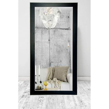 "Brandt Works Silver Accent Black Floor Mirror BM011T 32""x71"""