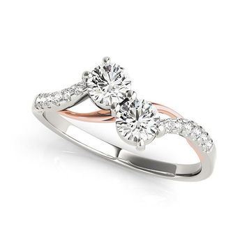 I Love Us™ Two-Stone Ring 1 3 ct tw Diamonds 14K White Gold