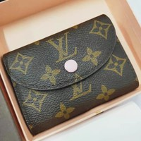 LV Louis Vuitton Retro Classic Monogram Pink Buckle Canvas Key Packet PU Small Coin Purse Wallet
