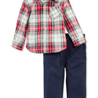 First Impressions Baby Boys' 2-Piece Plaid Shirt & Pants Set