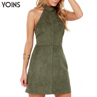 YOINS Summer Style Fashion Women Suede Dress Halter Neck Off Shoulder Sleeveless Mini Dress Sexy Backless Dress Vestidos