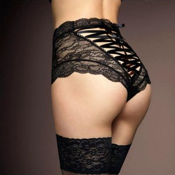 Hot Sale Briefs For Women Fashion High Waist Black Lace Underwear Sexy Cross Lacing Underpants Lady String Thong Panties