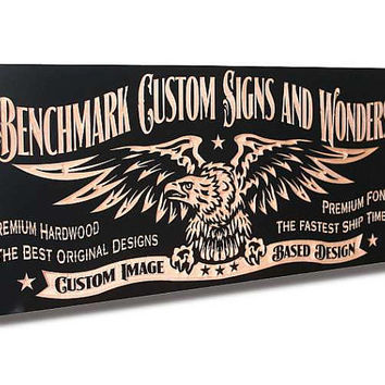Custom Sign: Engraved Wooden Sign for Custom Logos and Images Man Cave Sign Motorcycle Sign Business Sign Maple CI