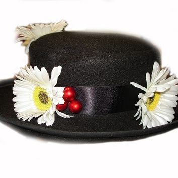 Custom Boutique MARY POPPINS Nanny's Black Hat