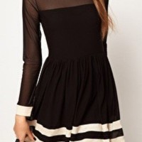 Black Long Sleeve Contrast Sheer Mesh Yoke Dress - Sheinside.com