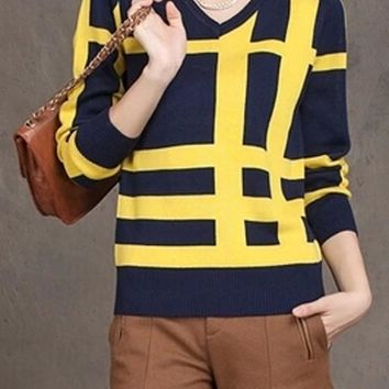 Yellow Plaid Print Slim Pullover