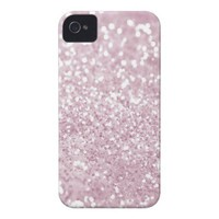 Girly Pink White Abstract Glitter Photo Print Case-Mate iPhone 4 Cases from Zazzle.com