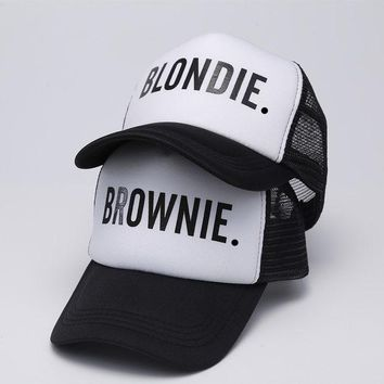 DCCKL3Z BLONDIE BROWNIE Baseball caps Trucker Mesh cap Women Gift For Girlfriends Her High Quality Caps Bill Hip-Hop Snapback Hat Gorras