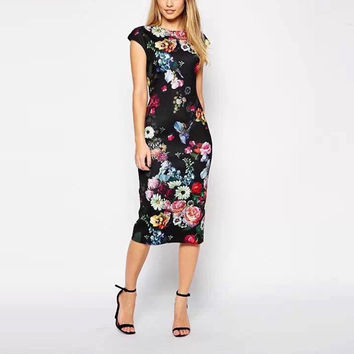 European-style hot spring and summer floral dress sexy party dress elegant ladies dress vest skirt dress