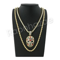 """GOLD SLAUGHTER GANG PENDANT W/ 24"""" ROPE /18"""" TENNIS CHAIN NECKLACE S10"""