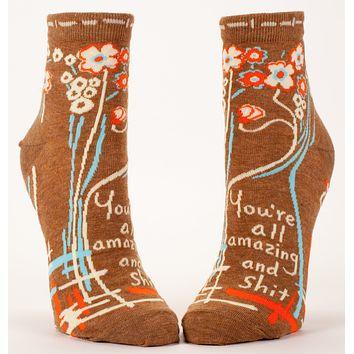 You're All Amazing and Shit Women's Socks in Brown