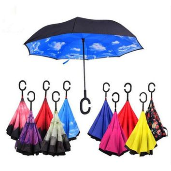Ceiourich Traditional Chinese Painting Car Reverse Umbrellas Rain Women Men Uv Protection Windproof Sunny Rainy Umbrellas-001