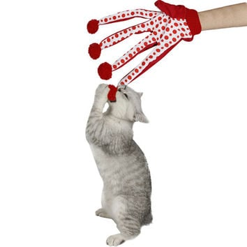 Pet Products Lovely Ball Pet Funny Toy Cute Polka Dot Cat Toys Scratch Glove Toy 4 Colors Crazy Loving for Kitten