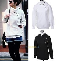 New Fashion Womens Korean Pullover Hoodie Jacket Jumper Sweater Coat Hooded Top