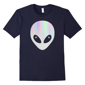 ALIEN HEAD T SHIRT HOLOGRAPHIC VAPORWAVE AESTHETIC