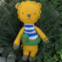 Leo, Crochet and Stufed Leo doll, Yellow Loe with Green duck, Handmade Amigurumi