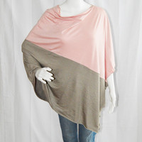 Colorblock  Poncho/ Pink and Tan Nursing Poncho /  Nursing Shawl / Breastfeeding Cover/ One shoulder Top/ Boho Poncho / New Mom Gift