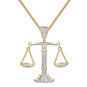 Scales of Justice Iced-Out 14k Gold Finish Pendant Chain
