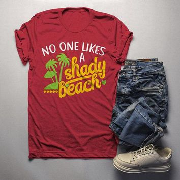 Men's Funny T Shirt Shady Beach Shirts Summer Fun Play On Words Saying Tee
