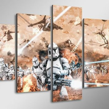 5 panel wall art -Star Wars Movie canvas picture print poster framed UNframed
