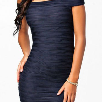 Deep Blue Off-Shoulder Bodycon Dress