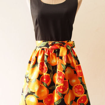 Juicy Orange Tropical Sundress, Summer Dress, Black Tangerine Dress, Carnival Retro Party Vintage Inspired Dress, Fruit Dress, XS-XL, Custom