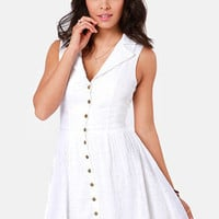 Lucca Couture Vineyard Tour White Eyelet Lace Dress