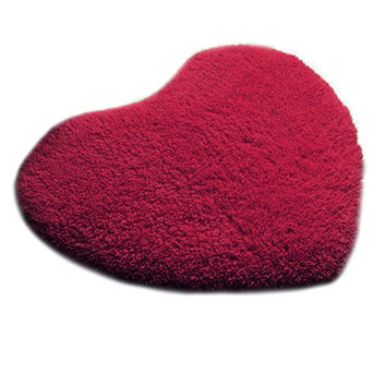 Solid Color Thick Fluff Heart Door Ground Foot Mat Carpet   wine red  40*50cm