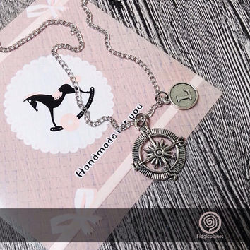 Personalized Initial Compass Necklace