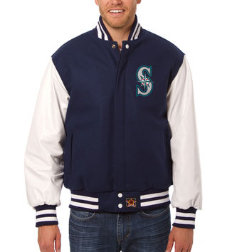 Seattle Mariners Wool And Leather Varsity Jacket