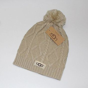PEAPOK3 UGG' Women Embroidery Beanies Knit Hat Warm Woolen Hat