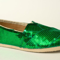 Kelly Green Sequin Canvas Slip On Classics