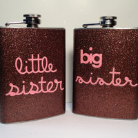 Big sister, Little sister Glitter Flasks
