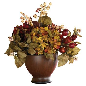 Silk Flowers -Autumn Hydrangea With Round Vase Seasonal - Arragnement