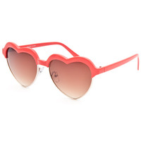 Full Tilt Heart Club Sunglasses Red One Size For Women 25741430001