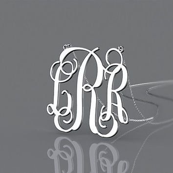 Cool 1 inch Monogram  necklace-- 3 initial name monogram 925 sterling silver necklace jewelry