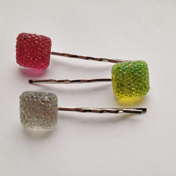 Sparkly Hair Clips - Square Jewel Hair Pins - Girls Bobby Pins