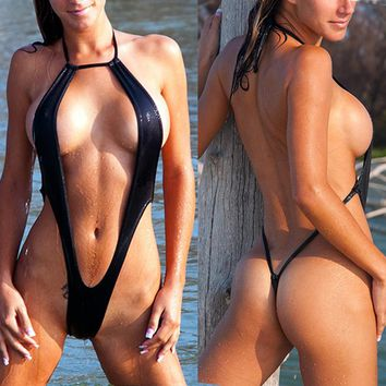 Sexy Black Slingshot Women Micro Monokini One piece Swimsuit G-String thong Sling Beach Short Swimwear Female Women's Swimsuits