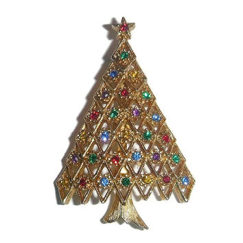 Rhinestone Christmas Tree Brooch Pin Multi Colored Rhinestone Vintage Jeweled Mid Century 60s Holiday Christmas Figural Jewelry Gift 1970s