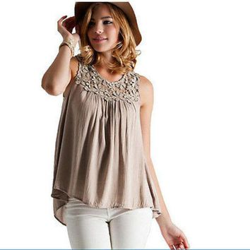 DCCKJG2 Sexy Women Vest Top Sleeveless Shirt Blouse Summer Casual Ladies Loose Tops