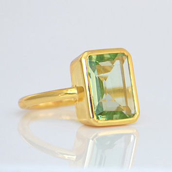 Large Faceted natural Green Amethyst Vermeil Gold oval stacking bezel set ring - February Birthstone