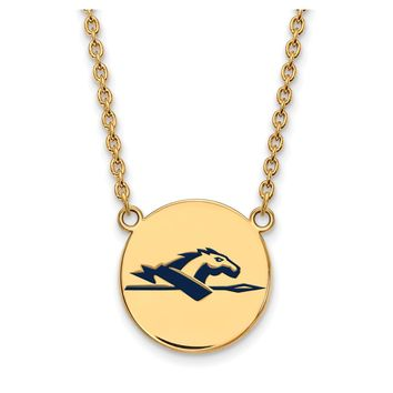 NCAA 14k Gold Plated Silver Longwood U Large Enamel Disc Necklace