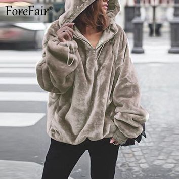 Forefair Faux Fur Fluffy Women Hoodie 2018 Autumn Winter Warm Sweatshirts Casual Hooded Hoodies Female Oversize Pullover