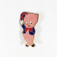 Porky Pig Pin Vintage 1969 Warner Brothers Collectible Looney Tunes Cartoon Character Jewelry Gift for Collector Unisex Pin Piglet
