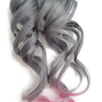 Metallic Tape in Human Hair Extensions Pastel Silver Grey Pink Ombre Highlights