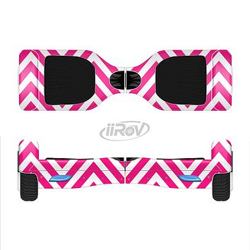 The Pink & White Sharp Chevron Pattern Full-Body Skin Set for the Smart Drifting SuperCharged iiRov HoverBoard