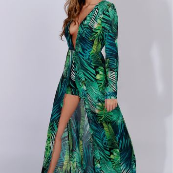 Palm Leaf Print Maxi Green